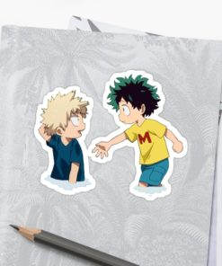 Cute Bakugou and Deku sticker on notebook