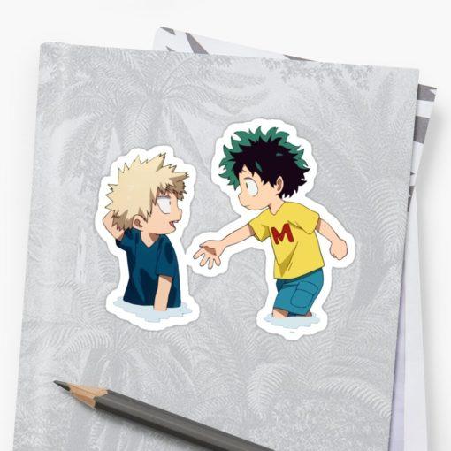 Cute Bakugou and Deku sticker on notebook