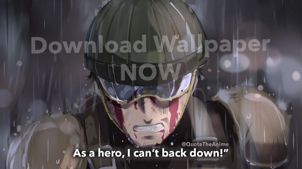 download wallpaper-mumen rider quotes- one punch man-As a hero I can't back down