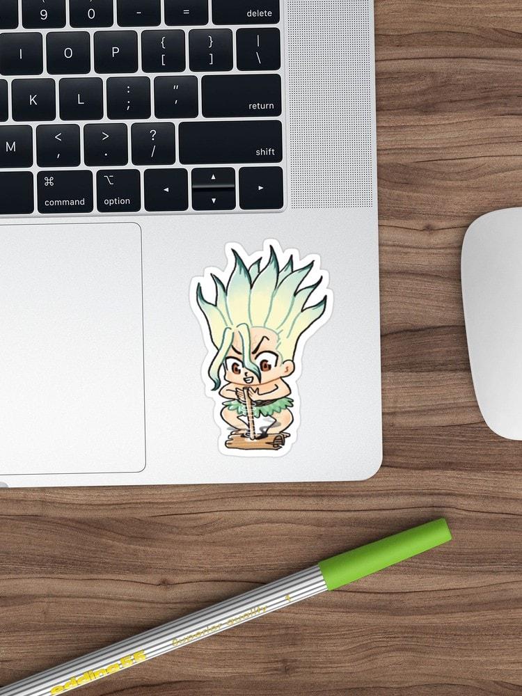 senku dr.stone sticker on laptop