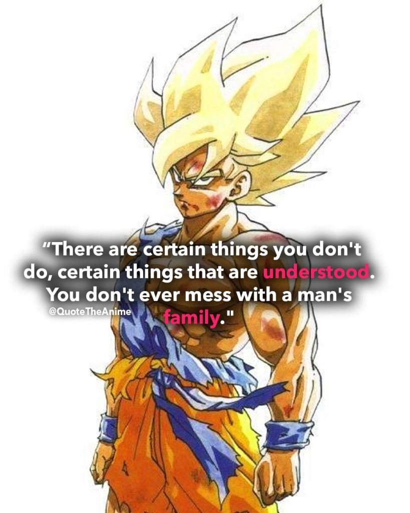 'Certain things are understood. You don't ever miss with a man's family.' -Goku quotes. Dragon Ball Quotes.