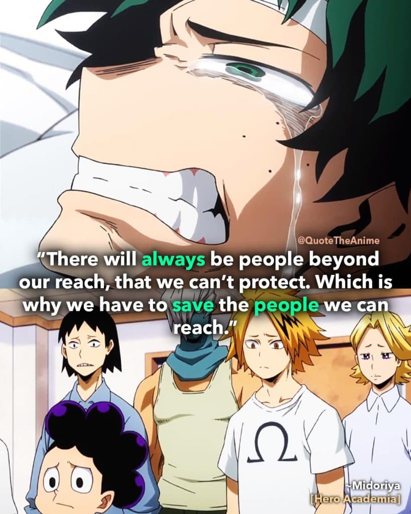 Deku, Izuku Midroiya Wallpaper. Hero academia wallpaper. 'We have to save the people we can reach.' Quote The Anime Wallpaper.
