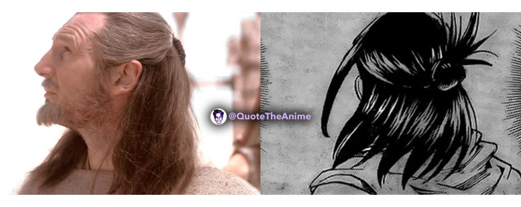 Nana Shimura and Qui Gon Jinn similarities Pony Tail