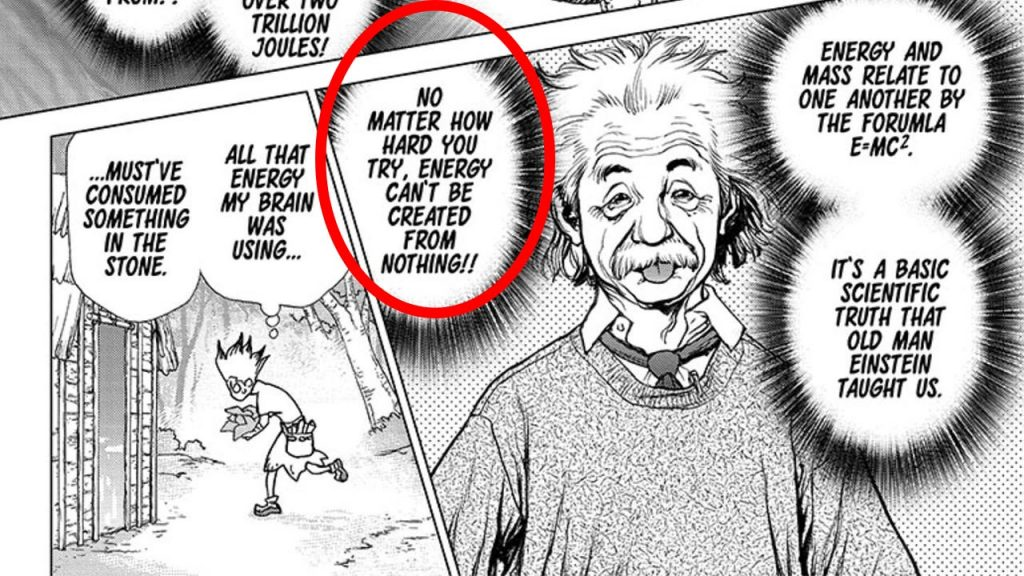 Dr. Stone MAnga Senku and Einstein - Law of conservation - energy can't be created from nothing.