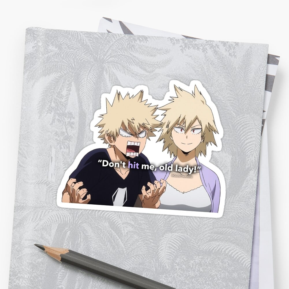 Bakugou Sticker Hero Academia - Don't hit me old lady art notebook