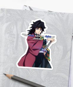 Demon Slayer Sticker Giyu Tomioka art-the weak have no rights or choices notebook