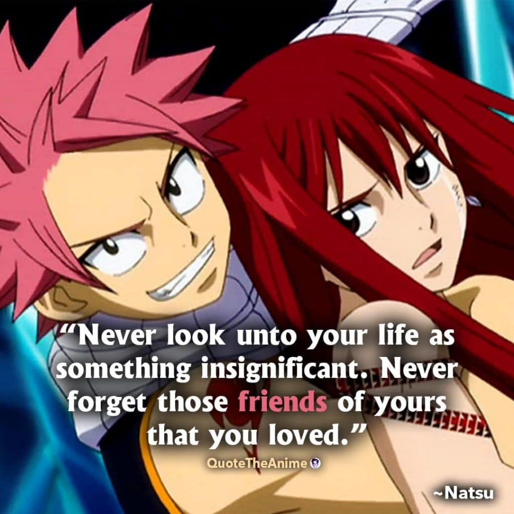 Natsu Quotes. Fairy Tail Quotes. 'Never look unto your life as something insignificant. Never forget those friends of yours.'