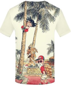 Kid goku and Master roshi summer t-shirt back