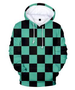 demon slayer hoodie Tanjiro Kamado checkered
